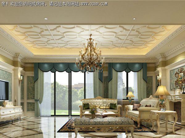 男主人喜欢法式的风格,喜欢天然的石材和红橡,客厅采用的地砖拼接图片